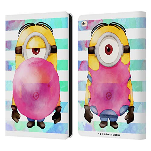 Head Case Designs Oficial Despicable Me Stuart Bubble Gum Minions Acuarela Carcasa de Cuero Tipo Libro Compatible con Apple iPad Air 2 (2014)