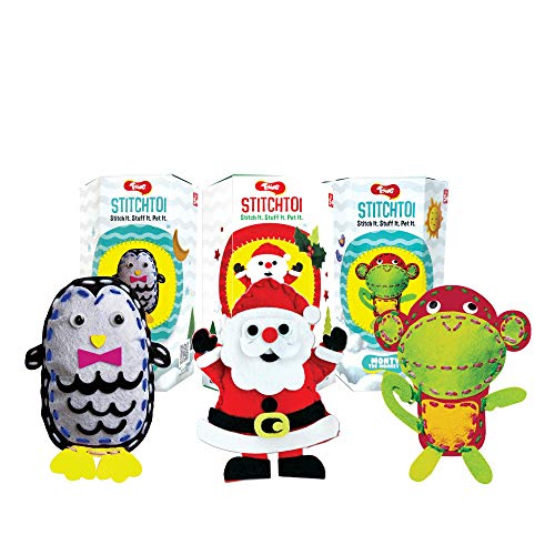 Toiing Stitchtoi DIY Felt Stitching Kit, Return Gift Combo Pack of 6: Penguin and Monkey, 3 Units Each, for Kids of Age 5 Years & Above