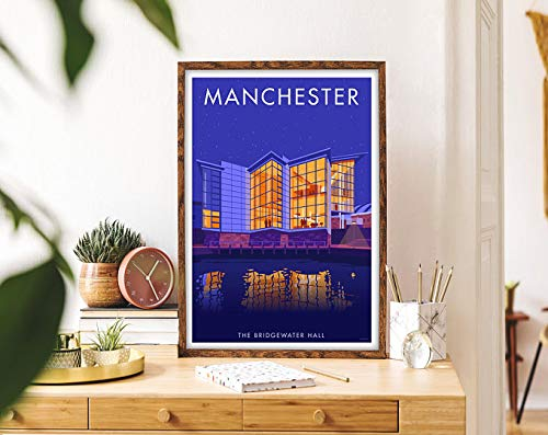 Manchester Bridgewater Hall Vintage Travel Print - Framed Travel Art Poster - Cityscape Travel Gift Picture | Poster No Frame Board For Office Decor, Best Gift For Family And Your Friends 11.7*16.5 In