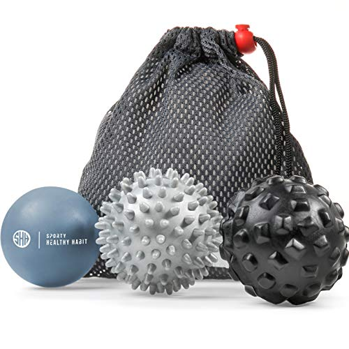 Massage Balls Deep Tissue, Lacrosse Ball, Spiky Ball and Foam Ball Roller, Trigger Point Therapy, Myofascial Release, and Muscle Recovery, Foot Massager and Plantar Fasciitis, Free eBook
