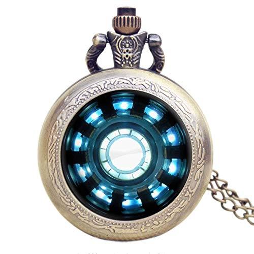 Moda Iron-Man Movies Extension Tony Stark ARC Reactor Jarvis Design Reloj de Bolsillo con Cadena de Collar
