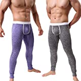 KAMUON Men's Low Rise Pouch Underwear Pants Long Johns Thermal Bottoms Leggings (US M = Asian Tag L : Waist 31'-33', 2 Pack-Black/Purple #2)