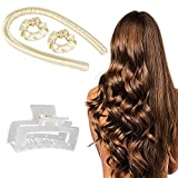 Heatless Hair Curlers for Long Hair To Sleep In Overnight No Heat Silk Curlers Headband Heatless Curling Rod Headband Soft Foam Hair Rollers Curling Ribbon and Flexible Rods for Natural Hair with Clip