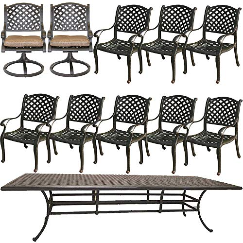 Cast Aluminum Patio Dining Set Nassau 11 Piece Outdoor Furniture with 46'x120' Rectangle Table