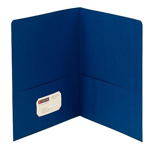 Smead Two-Pocket Heavyweight Folder, Letter Size, Dark Blue, 25 per Box (87854)