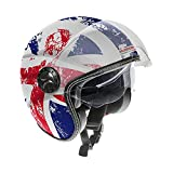 Guardian 0321 Casco da Moto Jet - Doppia visiera. Visiera Occhiale interno extra fumè a scomparsa. Cinturino a sgancio rapido- Flag England, Taglia L