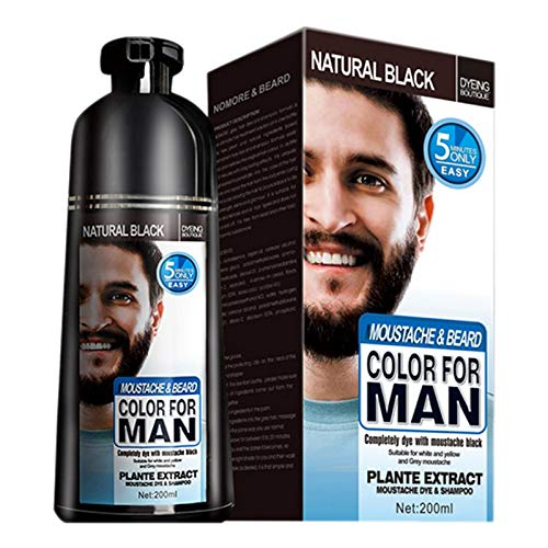 HLPIGF Champú de Tinte de Barba Permanente para Hombres EliminacióN de Tinte de Barba Pelo de Barba Gris Blanco Champú de Barba para Hombres 200 ML