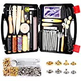 Lokunn 127 Pieces Leather Tool Kit, Leather Work Tool, Leathercraft Tools and Supplies with Leather Stamping Tools Rivets Kit Prong Punch for Leather Crafting Beginner Leather Working Kits