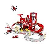 Hging Camiones de bomberos de juguete Garaje de juguete Playset Race Track Coches Aeroplano Fireman Aprendiendo Juguete Vehículo Partido Interior Juegos Montaje Familia Estación de estacionamiento con