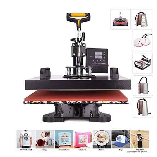 CO-Z 8 in 1 38X38CM Heat Press Dual Digital Control 360 Degree Swivel Heat Press Machine Multipurpose Combo Kit Sublimation Heat Press Machine for T Shirts, Mug, Hat, Plate, Cap (38x38cm 8in1)