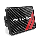 iPick Image, Compatible with - Dodge UV Graphic Carbon Fiber Look Metal Face-Plate on ABS Plastic 2 Tow Hitch Cover