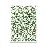 Vintage Blumenpflanzen in grünen Blättern Poster William