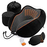 <span class='highlight'>Travel</span> Pillow, Memory Foam Neck Pillow for Airplanes, Car or Office Sleeping Napping, U Shaped Designed Comfort Neck Chin Head Support Cushion, 2 Storage Bag, Eye Mask, Earplugs Included(Black)