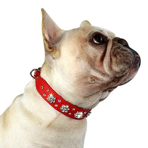 Hifrenchies Cute Rhinestone Flower Pattern Studded Dog Collars, PU Leather Bling Crystal Diamonds Collar for Frenchie Bulldog / Small Medium Dog Cat(XS,RED)