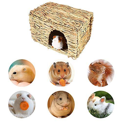 DEDC Kaninchen Grashaus Heuhaus- natürliches handgewebtes Spiel Heubett, verstecktes Hütten Spielzeug für Häschen Hamster Meerschweinchen Chinchilla Frettchen, 30 x 23 x 20cm