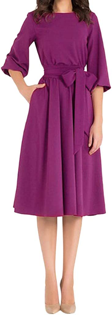 HKDGID Womens Wear to Work Dress Solid Color Long Sleeve Business Swing Dresses with Belt Hot Pink