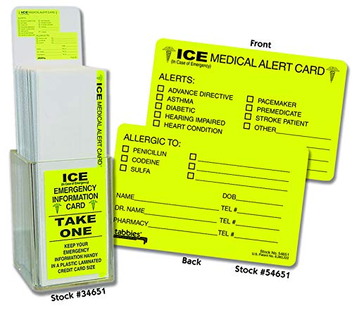 ICE (In Case of Emergency) Medical Alert Card Counter Display and 150 laminated Cards, Perfect Giveaways