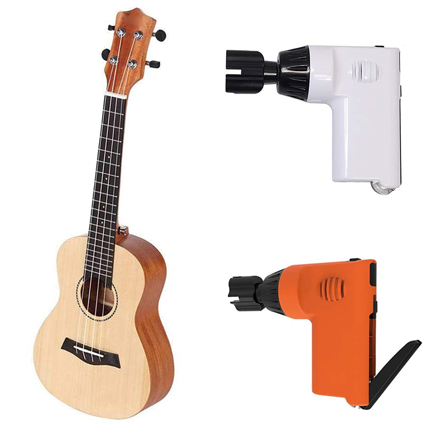 Misszhang-US USB Tuner Electric Acoustic Guitar Tuning Smart Peg String Winder Automatic Tool White