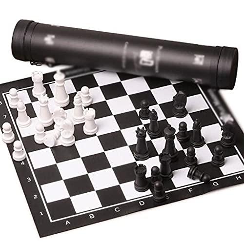 Juego de Ajedrez Conjunto de juegos de ajedrez estándar de cuero plegable Conjunto de piezas de ajedrez de madera magnética en blanco y negro para el ajedrez internacional Bess Loversa Juego de Mesa