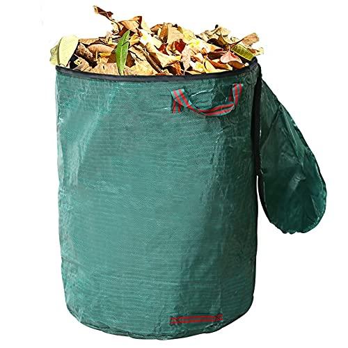Gartenabfallsack mit Deckel, 300L Gartensack aus robustem Wasserdichtes Robustes Polypropylen (PP), mit 4 reißfeste Griffe, Wiederverwendbare Gartenblattbeutel, Wasserdichter Beutel (67 * 84cm)