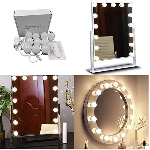 WJFXG Hollywood Style Vanity Spiegelleuchten-Kit (10 LED-Leuchten), Verstecken justierbares Länge Spiegel Beleuchtungskörper-Streifen für Make-up Vanity Table Set (Spiegel Nicht einschließen)