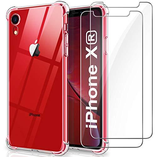 WINmall Coque pour iPhone XR + 2 Pièces Verre trempé écran Protecteur, [AIR Cushion Protection] Antichoc Bumper Case Transparente Silicone Coque pour iPhone XR(2018)-6.1
