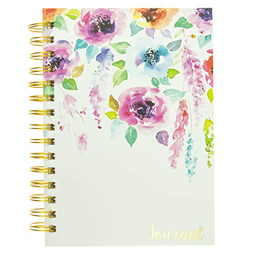 Graphique Hanging Flowers Hard Bound Journal w/Watercolor Flowers on Cover, Beautiful Introspective Journal for Nature Lovers and Gentle Spirits, 160 Ruled Pages, 6.25' x 8.25' x 1'