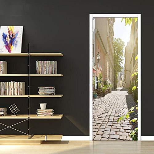 Deurfolie 3D Deurfolie Street View Fotobehang Woonkamer Slaapkamer Badkamer Deursticker Woondecoratie Lijm -As_Shown_95Cm_X_215Cm