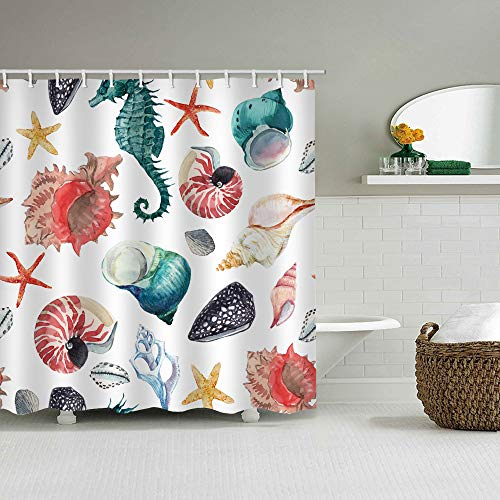 Shower Curtain Set with Hooks Soap Resistant Waterproof Colorful Ocean Lives Teal Sea Horse Conch Red Yellow Sea Star Bathroom Decor Machine Washable Polyester Fabric Bath Curtain 71 x 71 inches