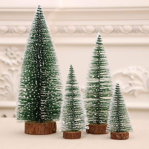 U-House Mini Artificial Christmas Tree Snow Frost Sisal Trees Desktop Miniature Pine Tree Bottle Brush Trees for Christmas Party Home Decoration(2 Size: 10/15cm Height)
