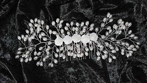 Braut Haarschmuck Haarkamm Hochzeit Kopfschmuck Perlen ivory besondere Anlässe h7