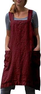 JERFER Schürze Frau Bettwäsche aus Baumwolle Quadrat Kreuz Schürze Garten Arbeit Kleid