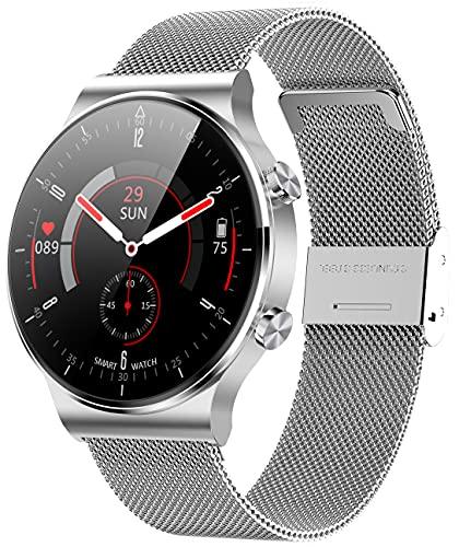ANMI Smartwatch Uomo Orologio Fitness con Chiamata Bluetooth,Impermeabile, Cardiofrequenzimetro da Polso, Activity Tracker Sportivi Contapassi Controllo Musica Cronometro per Android iOS (Argento)