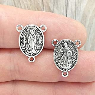 6 Silver Our Lady of Guadalupe Rosary Centerpiece by TIJC SP1864 - Design Your Own Jewelry - DIY - Art Craft