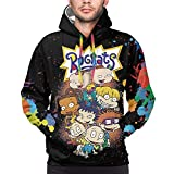 WXHN Mens Fashion 3D Rugrats Streetwear Slim Fit Sweaters Long Sleeve Pullover Hoodies XX-Large Black