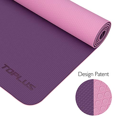 TOPLUS Yoga Mat - Upgraded Yoga Mat Eco Friendly Non-Slip Exercise & Fitness Mat with Carrying Strap, Workout Mat for All Type of Yoga, Pilates and Floor Exercises(1/4 inch-1/8 inch)