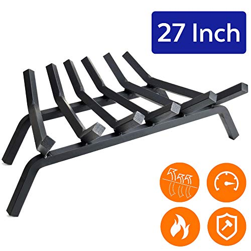 "Buy Discount Fireplace Log Grate 27 inch - 6 Bar Fire Grates - Heavy Duty 3/4"" Wide Solid Steel - ..."