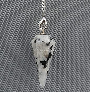 Amazing Gemstone Rainbow Moonstone Crystal Pendulum for Divination - Dowsing Pendulum Necklace with Chain and Crystal Ball for Reiki Healing and Crystal Grid Meditation
