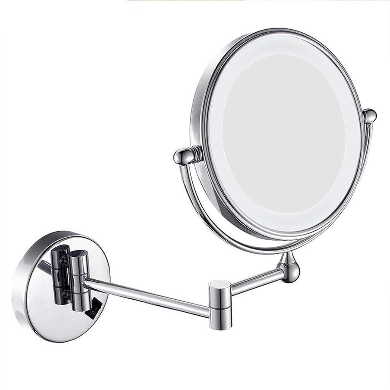 怖がらせる酒視力ShiSyan ミラー (:シルバー、サイズ:8インチ10倍カラー)壁掛け化粧鏡のLEDフィルライトメイクアップミラーウォールは8インチの光折りたたみ伸縮10倍拡大鏡をマウント インテリア