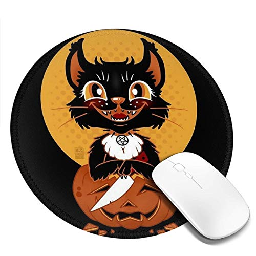 7.9x7.9in ronde muismat bureau kat met een mes voor Halloween toetsenbord mat grote muismat voor computer desktop laptop