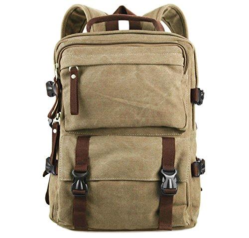 BONACE Retrò Canvas Zaino Porta PC Casual Scuola Borse Tela Viaggi Trekking Backpack per Gli Sport Esterni Perfetto per Gli Studenti e i Ragazzi / Adulti unisex(Marrone chiaro)