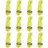 TRIWONDER Tensores con Cuerda Paracord de Nylon Reflexiva Durable para Tiendas de Campaña Toldo al Aire Libre (Amarillo - 12 Pcs)