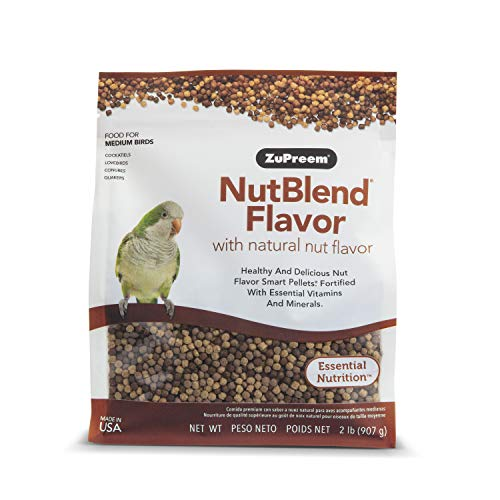 ZuPreem NutBlend Smart Pellets Bird Food for Medium Birds, 2 lb Bag - Made in The USA, Daily Nutrition, Essential Vitamins, Minerals for Cockatiels, Quakers, Lovebirds, Small Conures