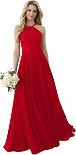 Women's Halter Neck Bridesmaid Dress Lace Top Long Evening Party Gown