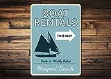 Señal de alquiler de barcos, nombre de ubicación de playa personalizado, decoración de flecha, regalo personalizado para amantes de la playa en velero – Novedad de alquiler de barcos de aluminio