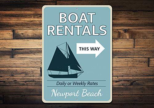 Señal de alquiler de barcos, nombre de ubicación de playa personalizado, decoración...