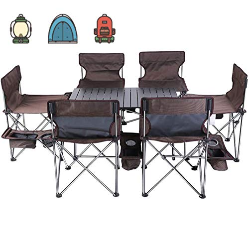 ZLALF Folding Camping Table With 6 Camping Chairs, Outdoor Portable Picnic Table And Chair Set Of 7 Sets, For Events Garden Camping BBQ Party