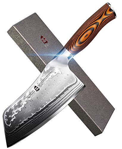 """TUO Cutlery Cleaver Knife - Japanese AUS-10 45-Layers Steel - Chinese Chef's Knife Featured Damascus Rose Pattern - Meat and Vegetable Cleaver with Ergonomic Pakkawood Handle - 7"""" - Fiery Phoenix"""
