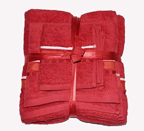Exotic Cotton Juego de Toallas de Baño L 100 x 150 cm de Algodón Egipcio – 3 Piezas de Secado Rápido – Toalla de Cara 30x50 cm, Toalla de Mano 50x100 cm y Toalla de Ducha 100 x 150 cm – Toallas Rojas