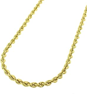 c3f5891f8 14K Gold 2.5MM 3MM 4MM Diamond Cut Rope Chain Necklace for Men and Women-
